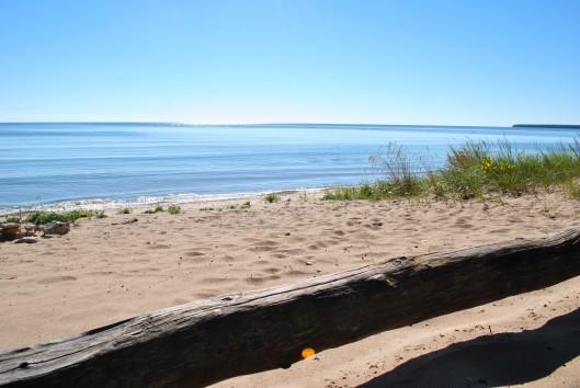 door county log on beach