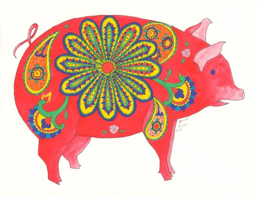 colored paisley pig