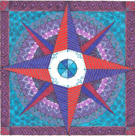 red purple blue compass rose