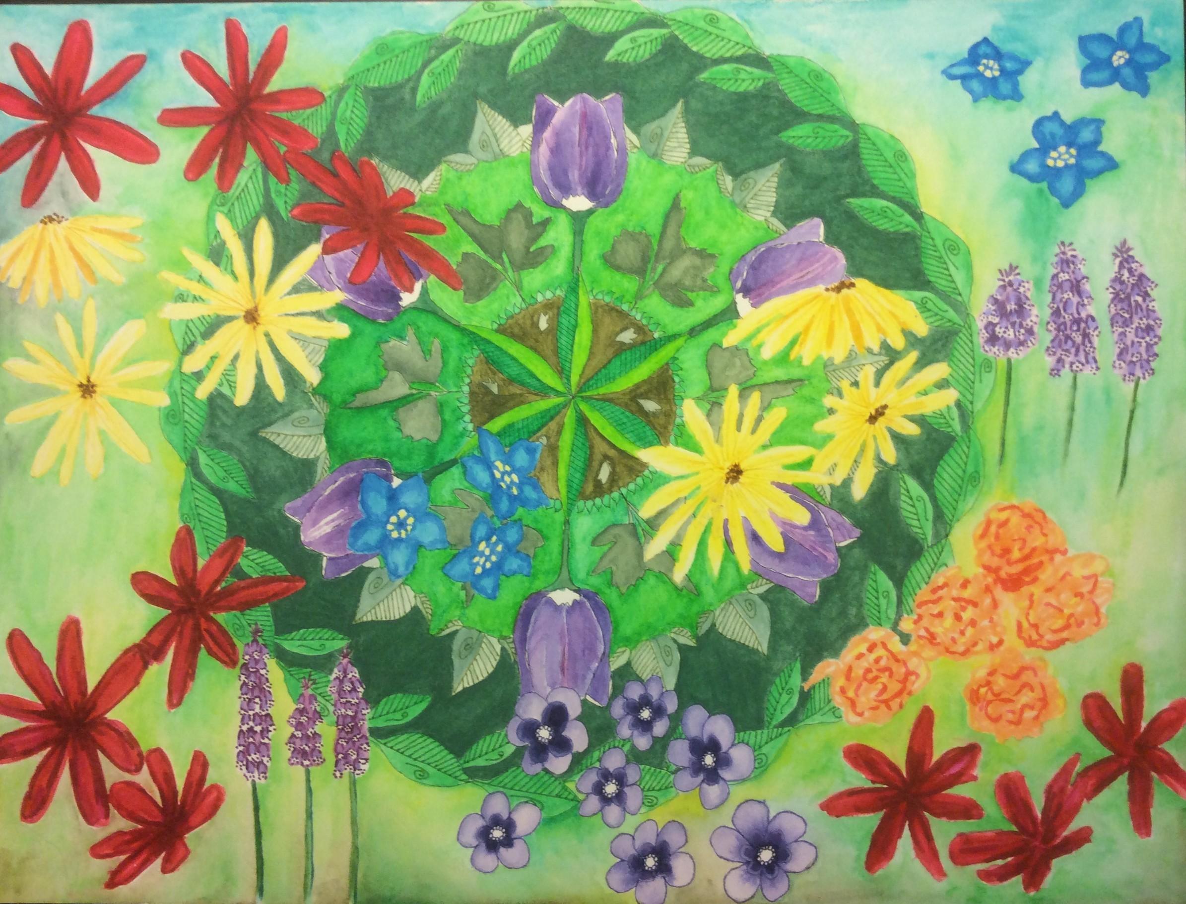 Leaf Mandala With Flowers