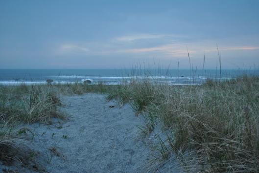 beach and rocks at dusk