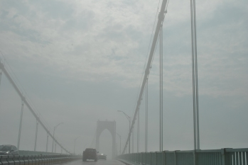 foggy bridge to Newport some sun
