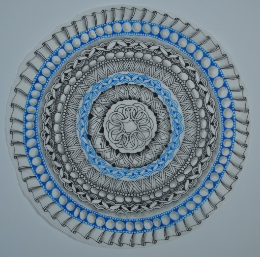 mandala 41 in progress on tissue