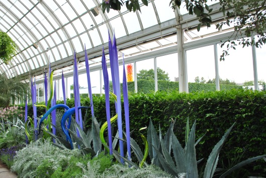 NYBG Chihuly in conservatory purple and green and icicle