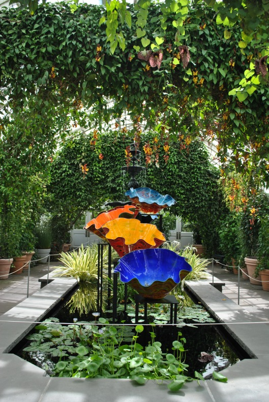 NYBG Chihuly in conservatory rainbow bowls