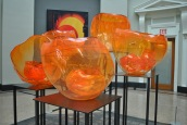 NYBG Chihuly orange bowls in library