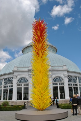 NYBG Chihuly outside conservatory red and yellow and conservatory