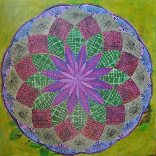 JeanetteClawson_DrawtheCircleWideLayers_Mixed media on gessoboard_30x30