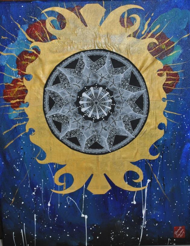 JeanetteClawson_EclipseMandala_Mixed media on canvas_20x16