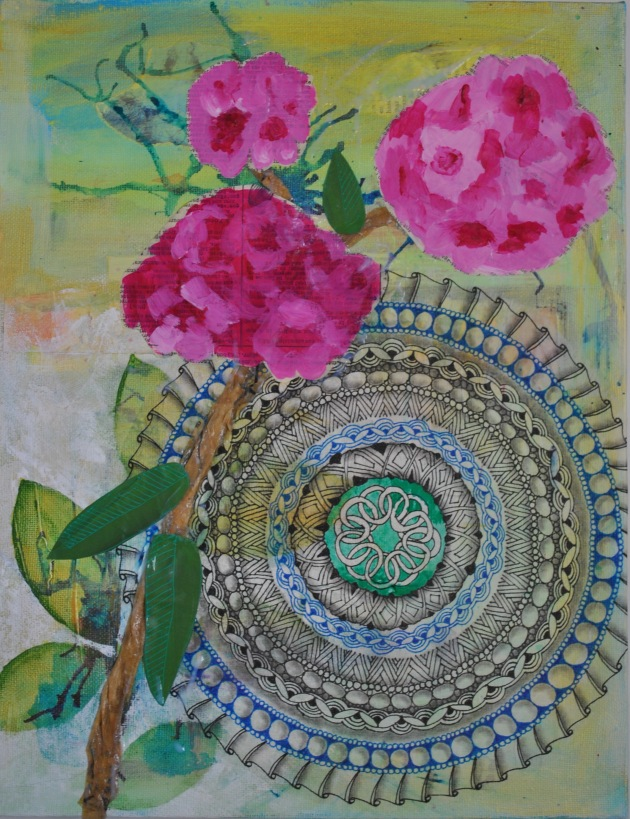 JeanetteClawson_MandalawithRhododendron_Mixed media on canvas_14x11